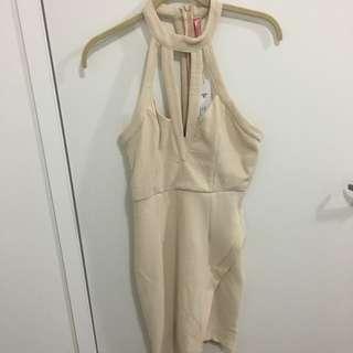 Beige Midi Bodycon Dress