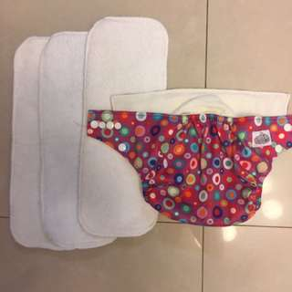 Cloth diaper with 3 inserts