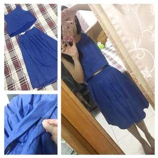 泰國帶回牛仔藍套裝短背心小可愛及膝裙中長裙大圓裙高腰長裙套裝微露腰小洋裝