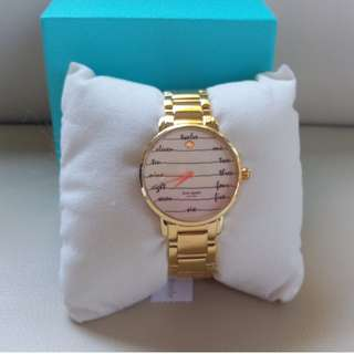 Kate Spade New York Gramercy Script Gold Plated Bracelet Watch KSW1060