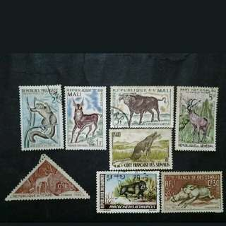 Mix Collection Of Republique Malagasy , Mali, Du Tchad, Senegal, Dahomey & Somanis  - 8v Used Stamps