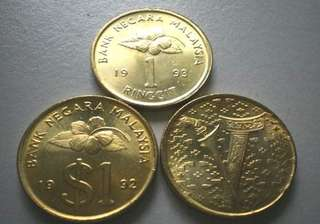 Malaysia 1 Ringgit Coin (3 for RM50)