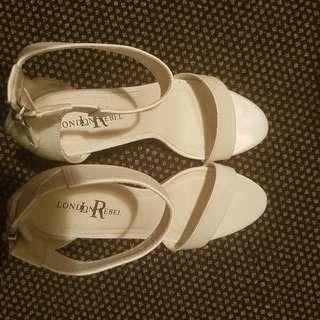 london rebel white heels