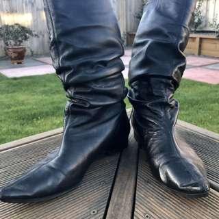 Isabella Anselmi Black Leather Boots Size 37