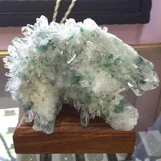 Top quality green phantom 顶级绿幽灵摆件  绿幽灵花  配黄花梨底座(高档珍贵木座)
