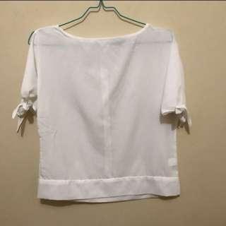 The Executive White Open-sleeve Top