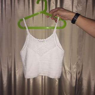 White knitted supre crop top SIZE S
