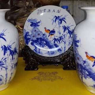 Porcelain vase with plate