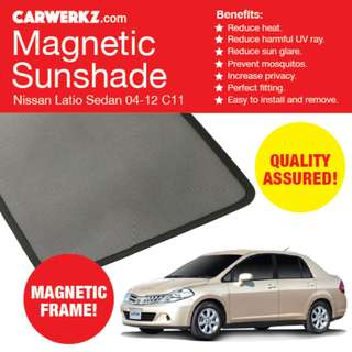 Quality Nissan Latio Sedan 04-12 Magnetic Sunshades 4 Pcs