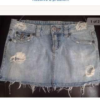 Topshop distressed mini skirt