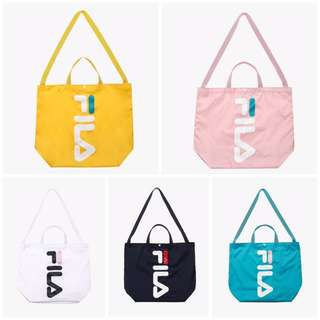 韓國代購 FILA 防潑水 提袋 帆布提袋 側背 手提袋 韓妞必備 黑 白 綠 粉 黃 $850