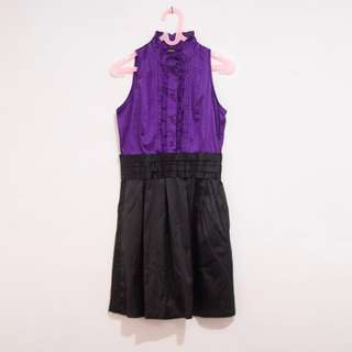 Sleeveless Mini Dress Formal Warna Ungu Mix Hitam | Party Dress | Dress Pesta