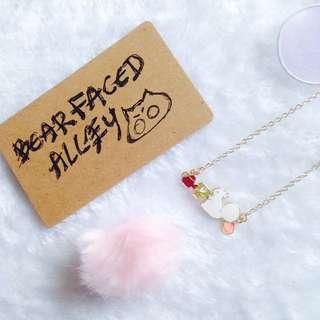 Resin white squirrel minimalist necklace harajuku pastel