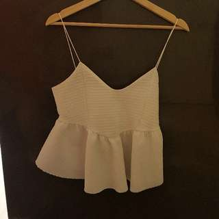 Zara white peplum style camisole sz M