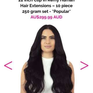 22 Inch human hair extensions clip ins