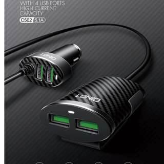 LDNIO C502 5.1A 4 Ports USB Car Charger With Extension Cable for back seat