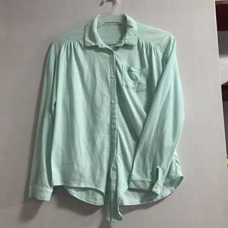 Mint cotton longsleeves polo