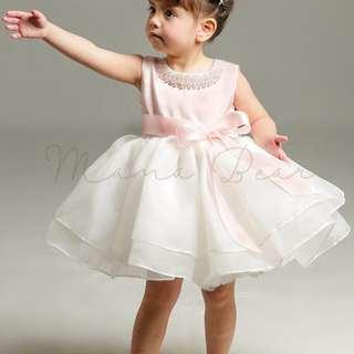 Pearl Stud Ribbon Sleeveless Ball Gown Party Dress (3M-24M)