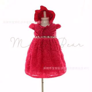 Ruffled Rose Gem with Hat Ball Gown Party Dress (3M-6M)