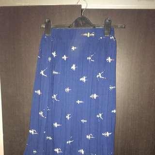 Pleated Skirt Navy Merk Ada Size S-M
