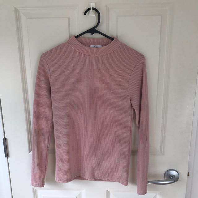 66GIRLS BLUSH HIGH NECK RIBBED LONG SLEEVE