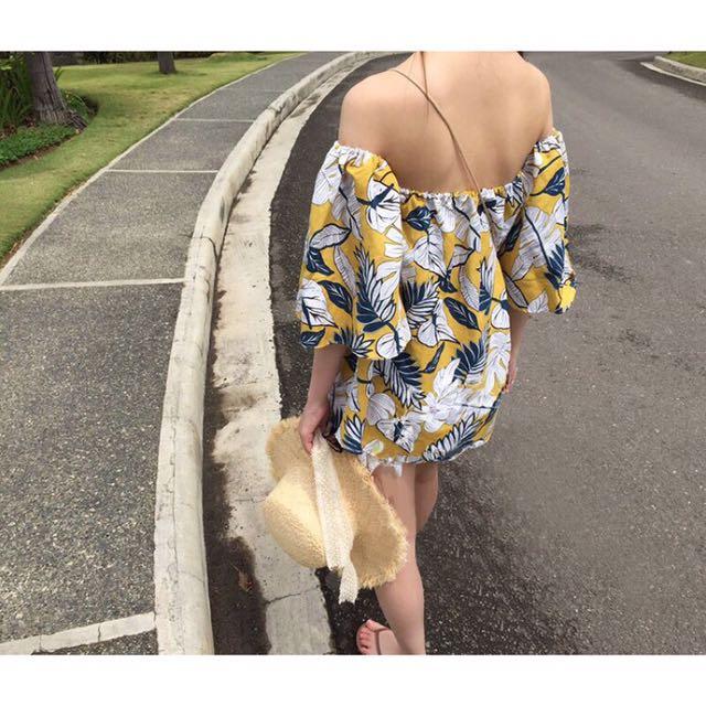 熱帶樹葉一字棉麻露肩洋裝