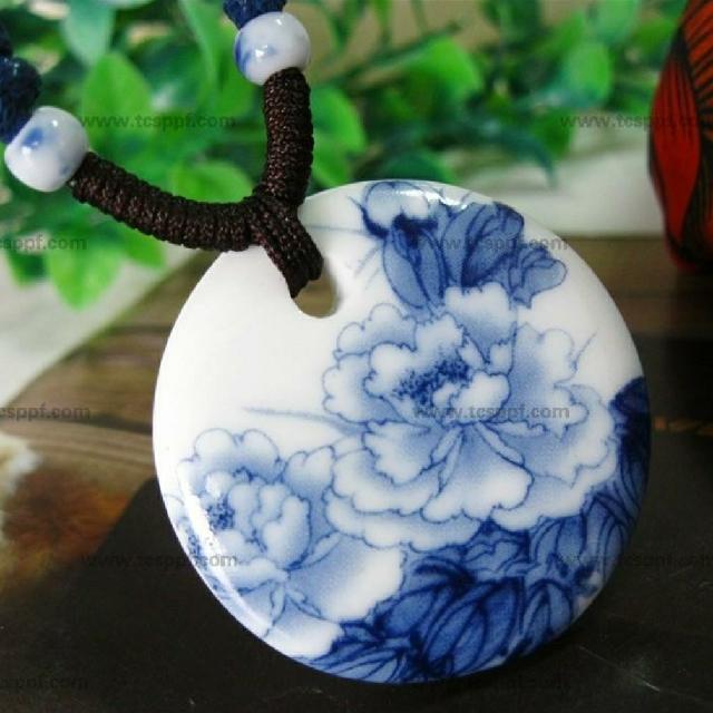 免運,陶瓷富貴牡丹項鍊