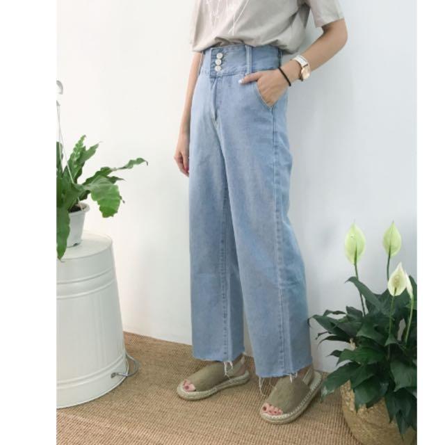 三釦牛仔寬褲