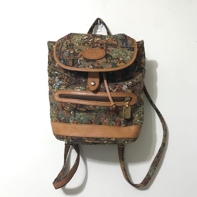 義大利製古著部分真皮後背包