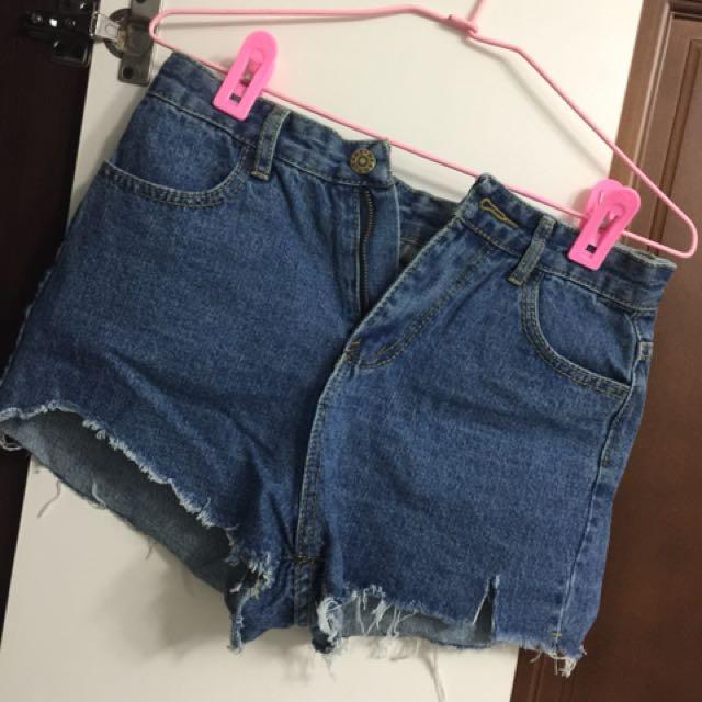 韓版刷破牛仔短褲