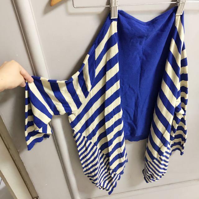 條紋風格不規則下襬針織小外套