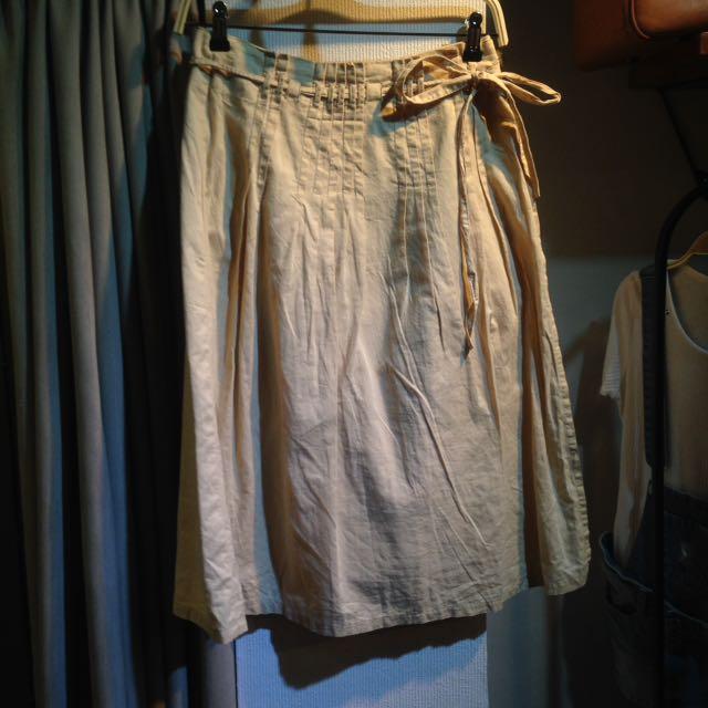 椿花二手衣-純棉壓褶長圍裹式一片裙