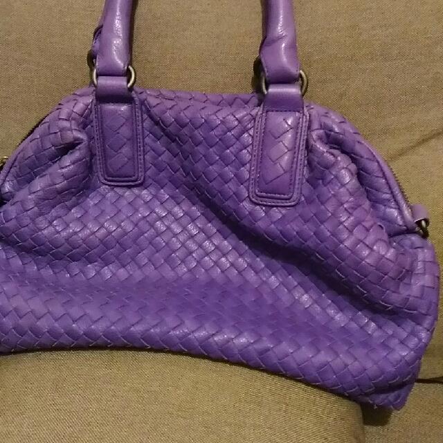 ✨ 降價 紫色 真皮編織包