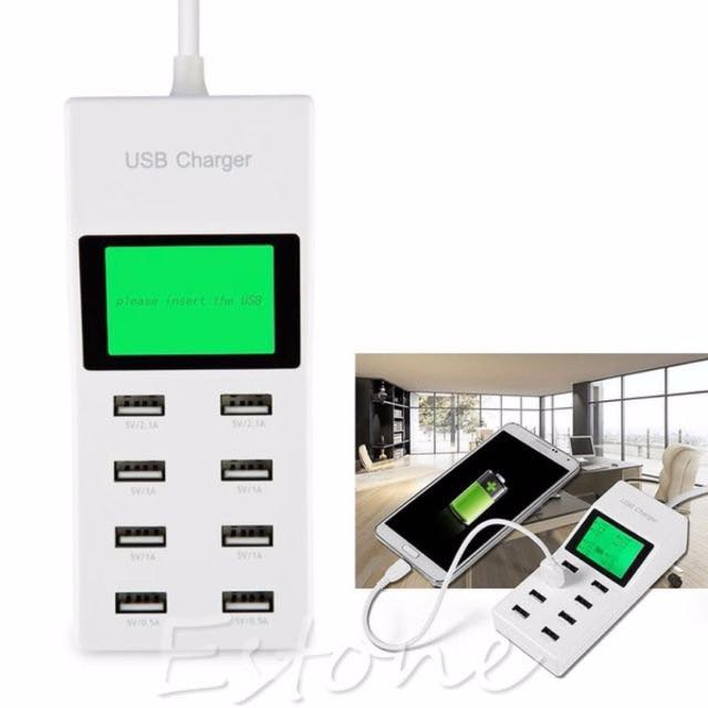 ★★ Latest 40W 8 Amps – Quick Charge 8-Port USB Home Wall Charger Station with Power Auto-Detection Technology for Smartphone / Tablet ★★ UK 3 PINS (Singapore Type) ★★  with Green Backlight LCD Screen Display - 1.5M Wire ★★ (Color: White)