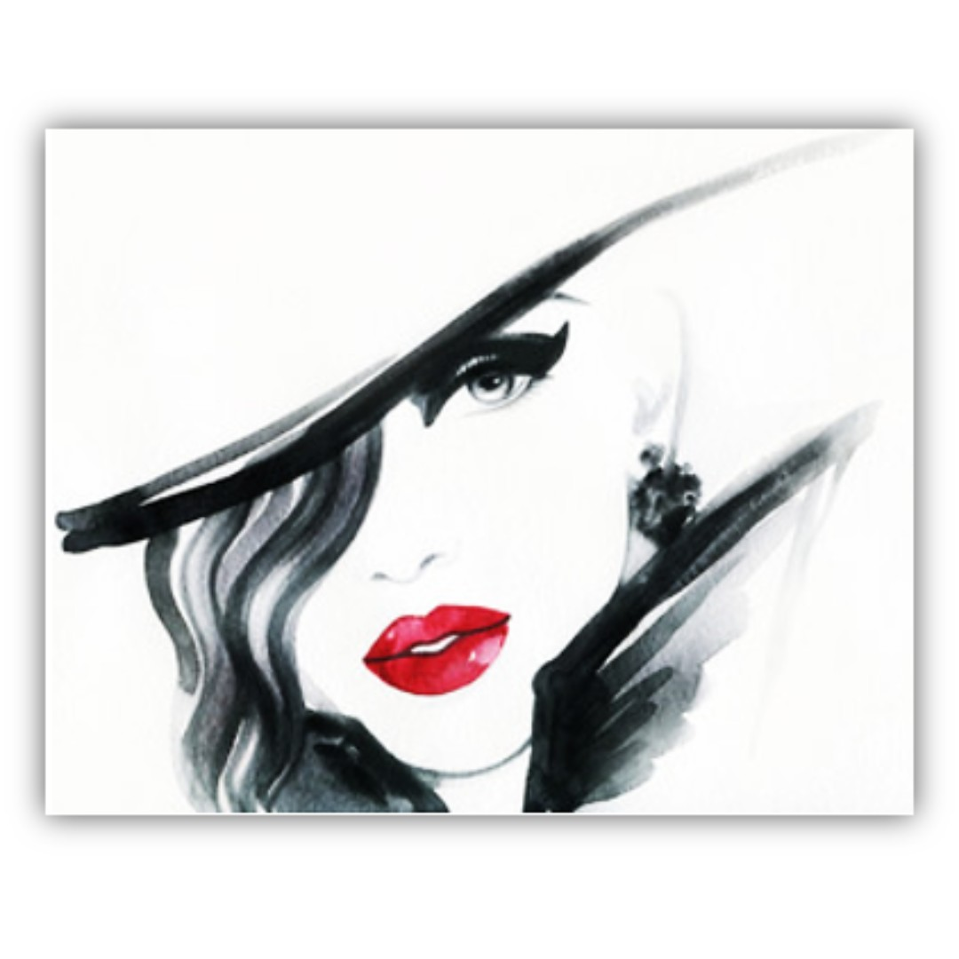 Abstract Watercolour Black And White Red Accent Portrait Canvas Print Wall Art Design Craft Prints On Carou