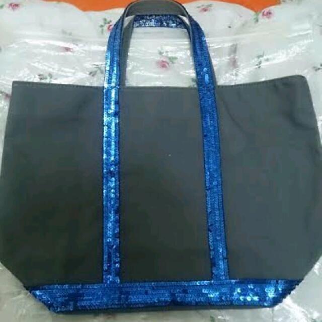 法國Vanessa bruno 鐵灰色帆布藍色亮片包 手提包肩背包