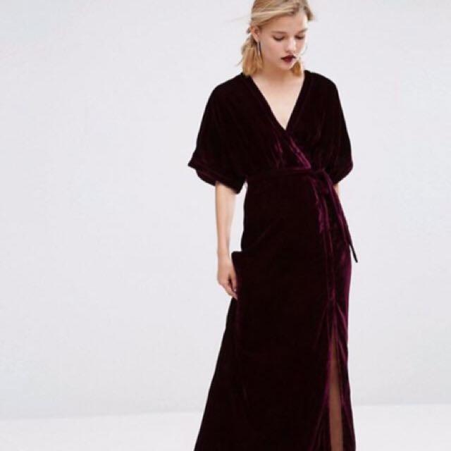 f92bb4e295 Asos Deep Red Velvet Maxi Dress