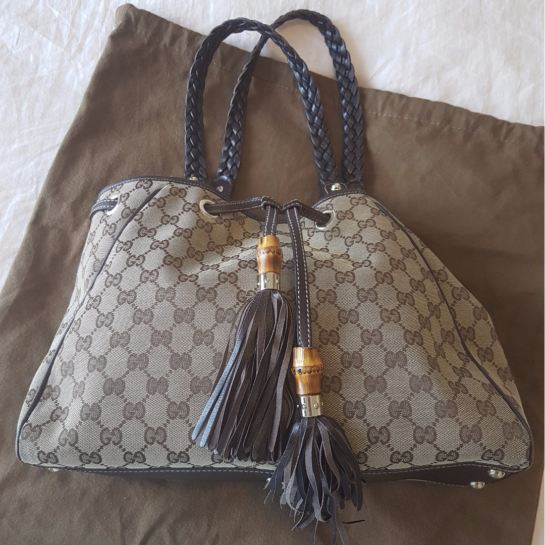 bea394f7b Authentic Gucci bamboo tote bag with original 'GG' monogram, Women's ...