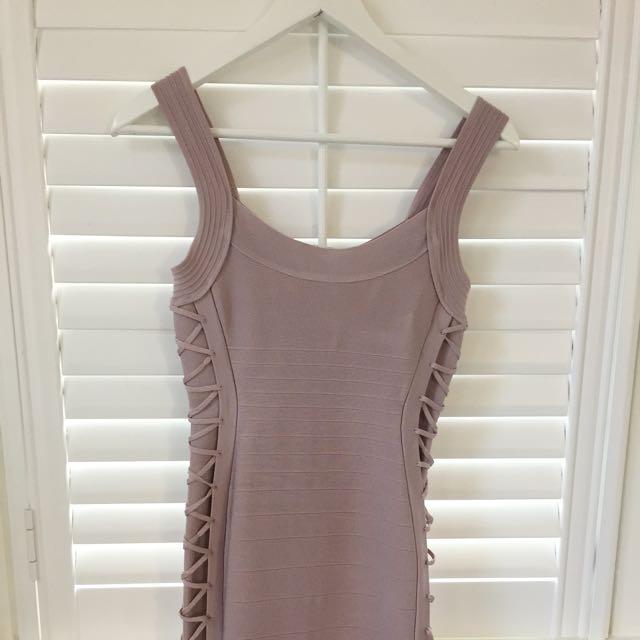 Bebe Blush Pink Bodycon Bandage Dress