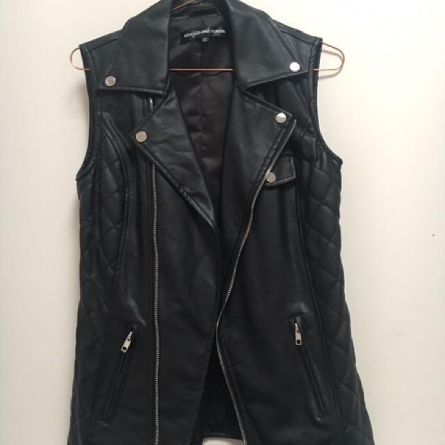 Black Faux Leather Vest Size XS
