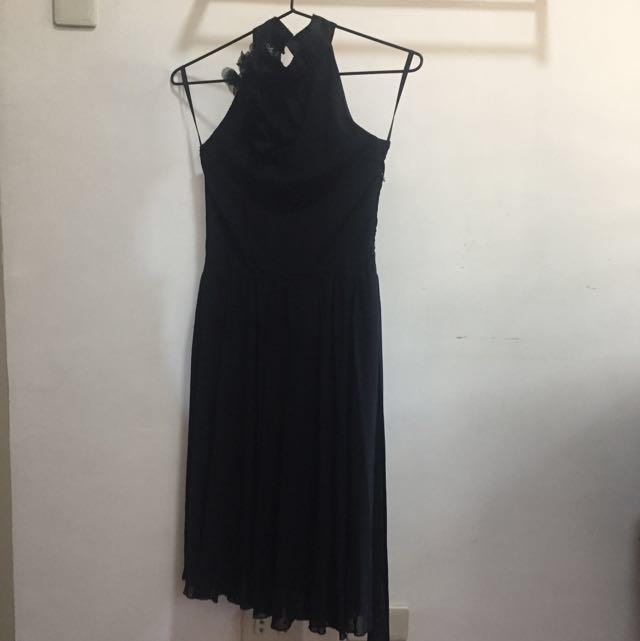 Black Halter Chiffon Dress