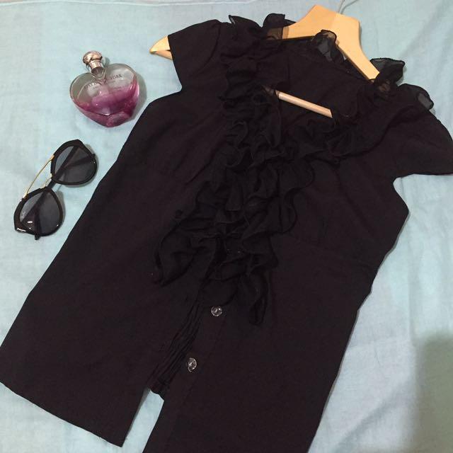 Black Ruffled Blouse