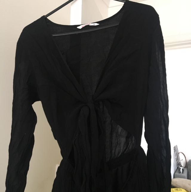 Black Tie Up Playsuit