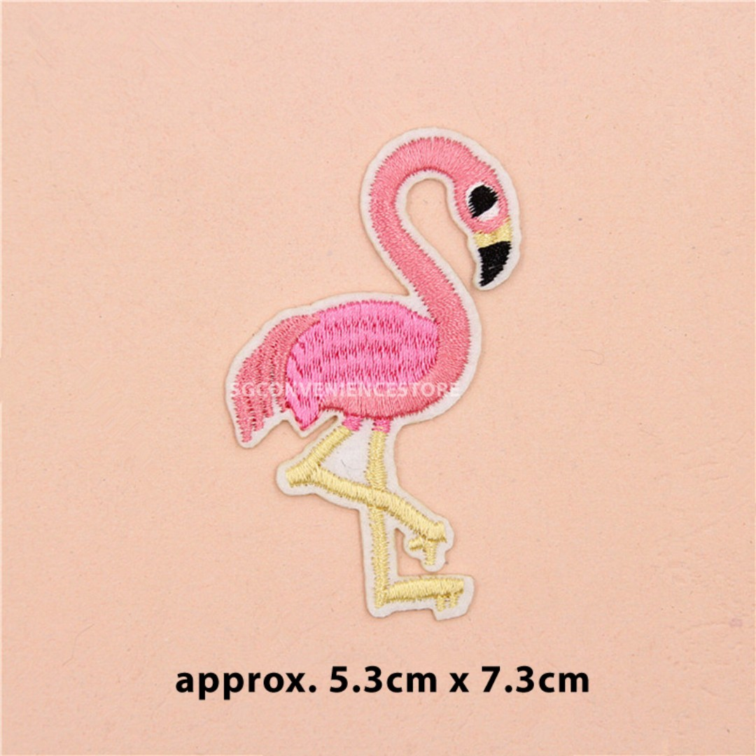 Pink Flamingo Embroidery iron sew on Patch Badge