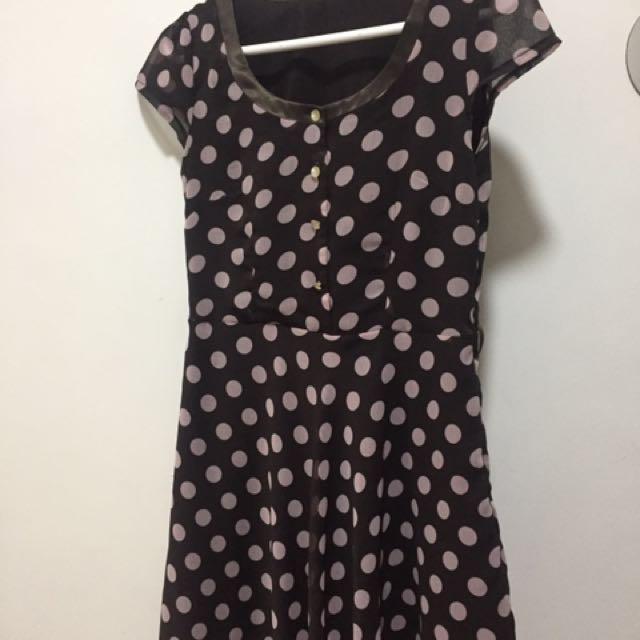 Brown/White Polka Dots Dress