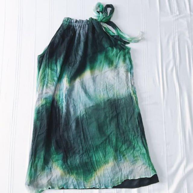 bYSI Flowy Green Knot Neck Dress