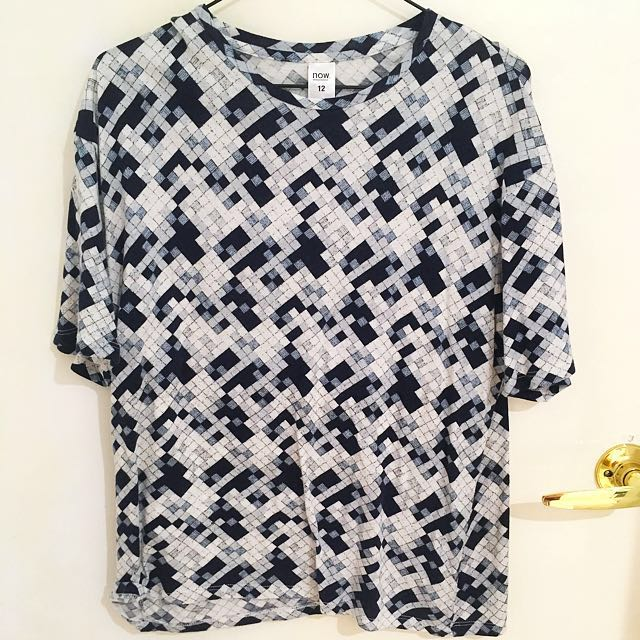 Check Blue & White Boat Neck Tee - Size 12 Kmart