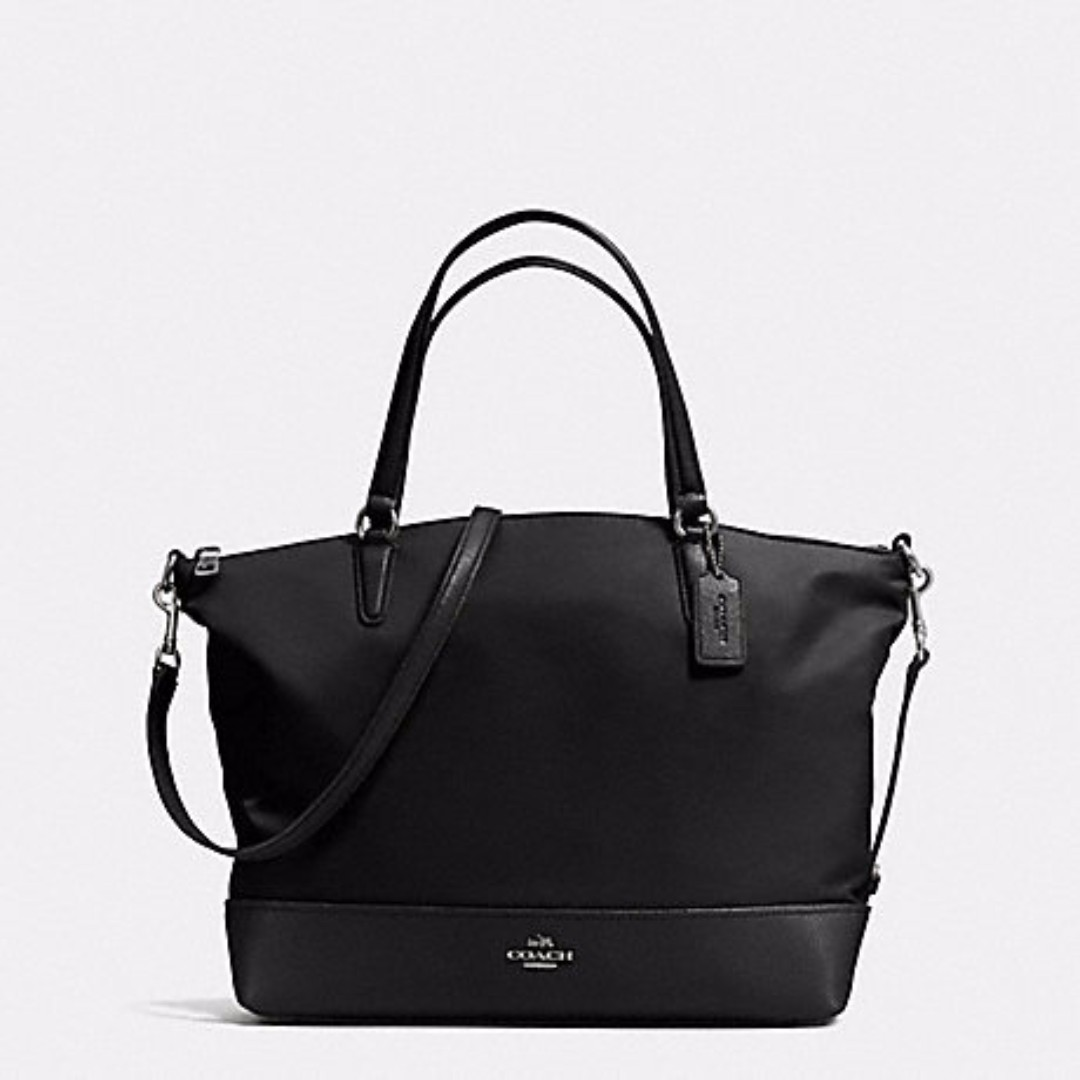 Coach F57902 Nylon With Leather Trim Satchel Purse Black Nwt Authentic Can Laptop Women S Fashion Bags Wallets On Carou