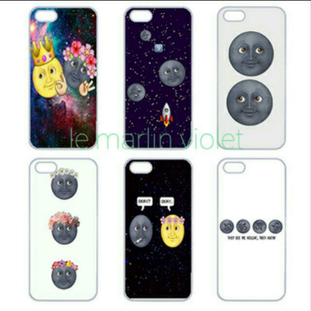 online retailer f1310 9ce93 💜 Customise Customize Phone Case Cover - Moon Emoji Series