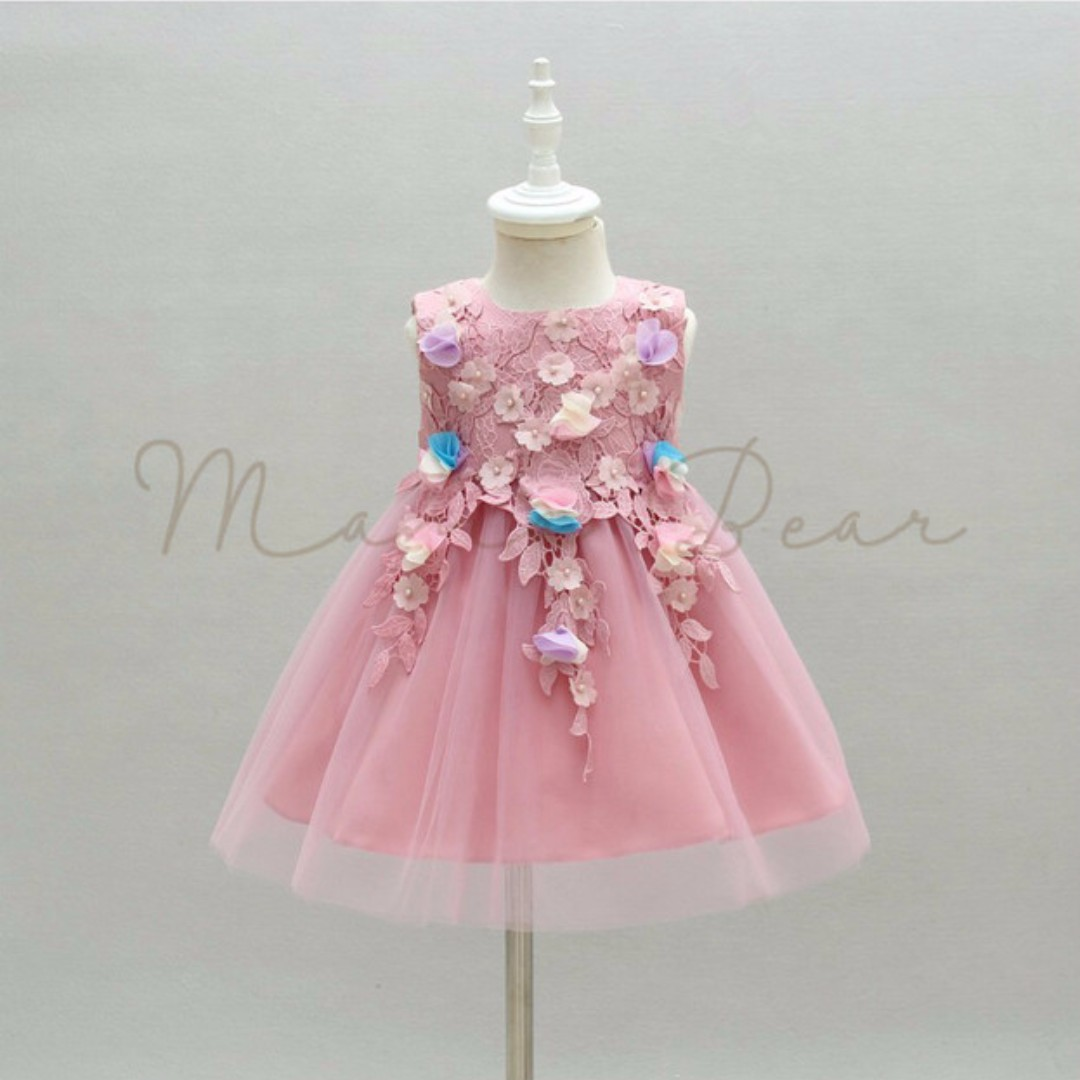 Floral Design with Ribbon Sleeveless Ball Gown Party Dress (3M-24M)